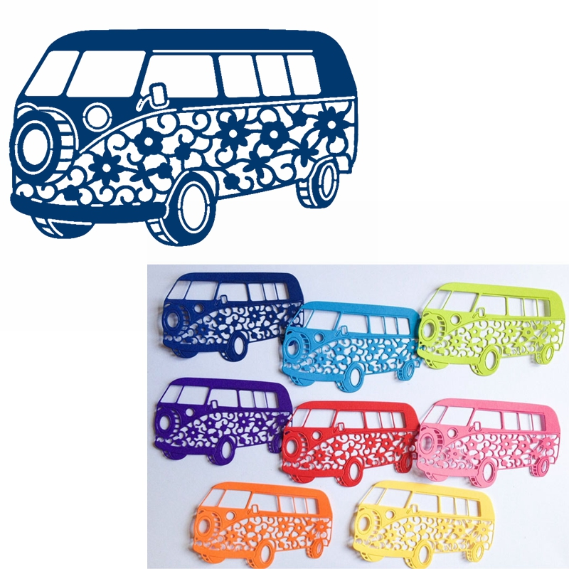 Flowery Bus Metal Cutting Dies Stencils Hollowed Flower Bus Die Cut For Card Making DIY New 2019 Crafts Cards