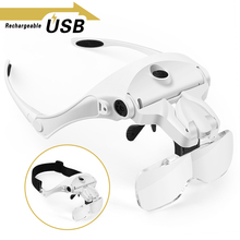 Magnifying Glasses, Rechargeable LED Light Lamp Head Loupe Headband Magnifier Eyewear Glasses Tool Repair Reading Magnifier led light magnifier