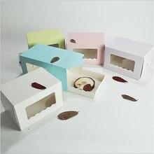 Cake Box With Window Cupcake Box Insert Small Cake Packing Muffin Cardboard Box Wedding Favour Boxes 15.5x11x10cm magic cake box