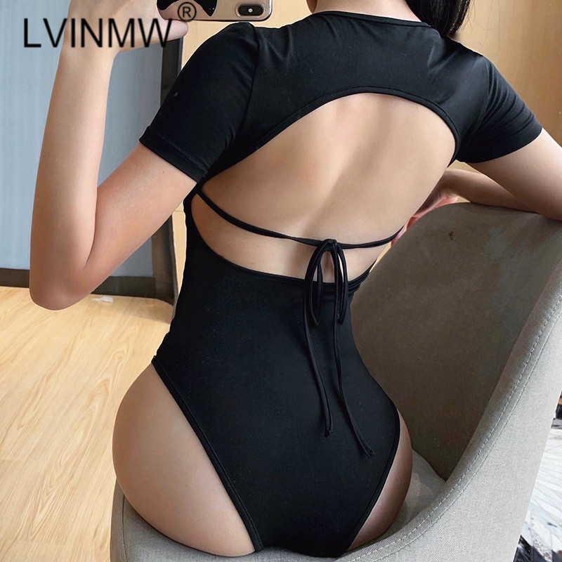 LVINMW Sexy Short Sleeve Backless Lace Up Round Neck Button Bodysuit 2020 Summer Women Slim Skinny Solid Fashion Bodycon Street