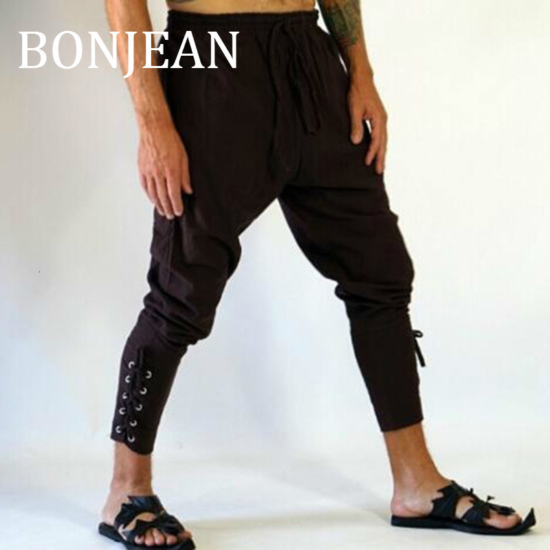 BONJEAN Men's Ankle Lace-up Banded Pants Trousers Fashion Retro Medieval Viking Navigator Pants Men Casual Loose Trousers BJ1916