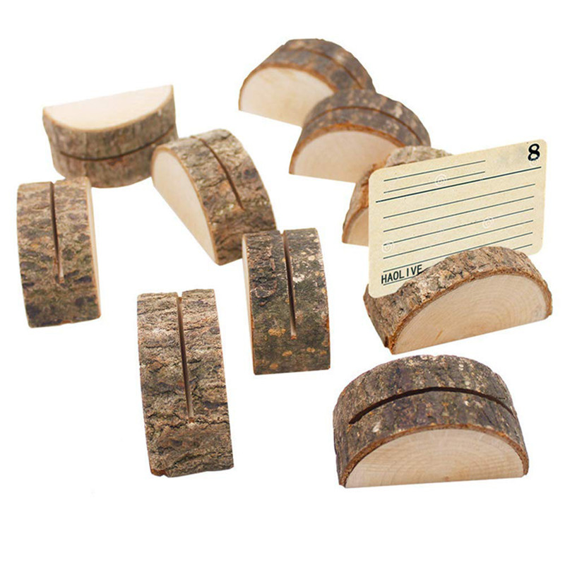 10pcs/Set Log Photo Clip Bark Stump Crafts Retro Home Decoration Stakes Wedding Party Hotel Table Card Decoration New