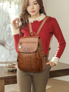 Vintage Women designer luxury Backpacks High Quality PU Leather School Bags for Teenager