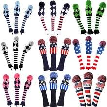 Golf 3 шт./компл. помпонами носки покрытие на возраст 1, 3, 5, для игры в гольф древесины шлем для гольфа Dirver/Фервей Гольф Клуб Headcovers