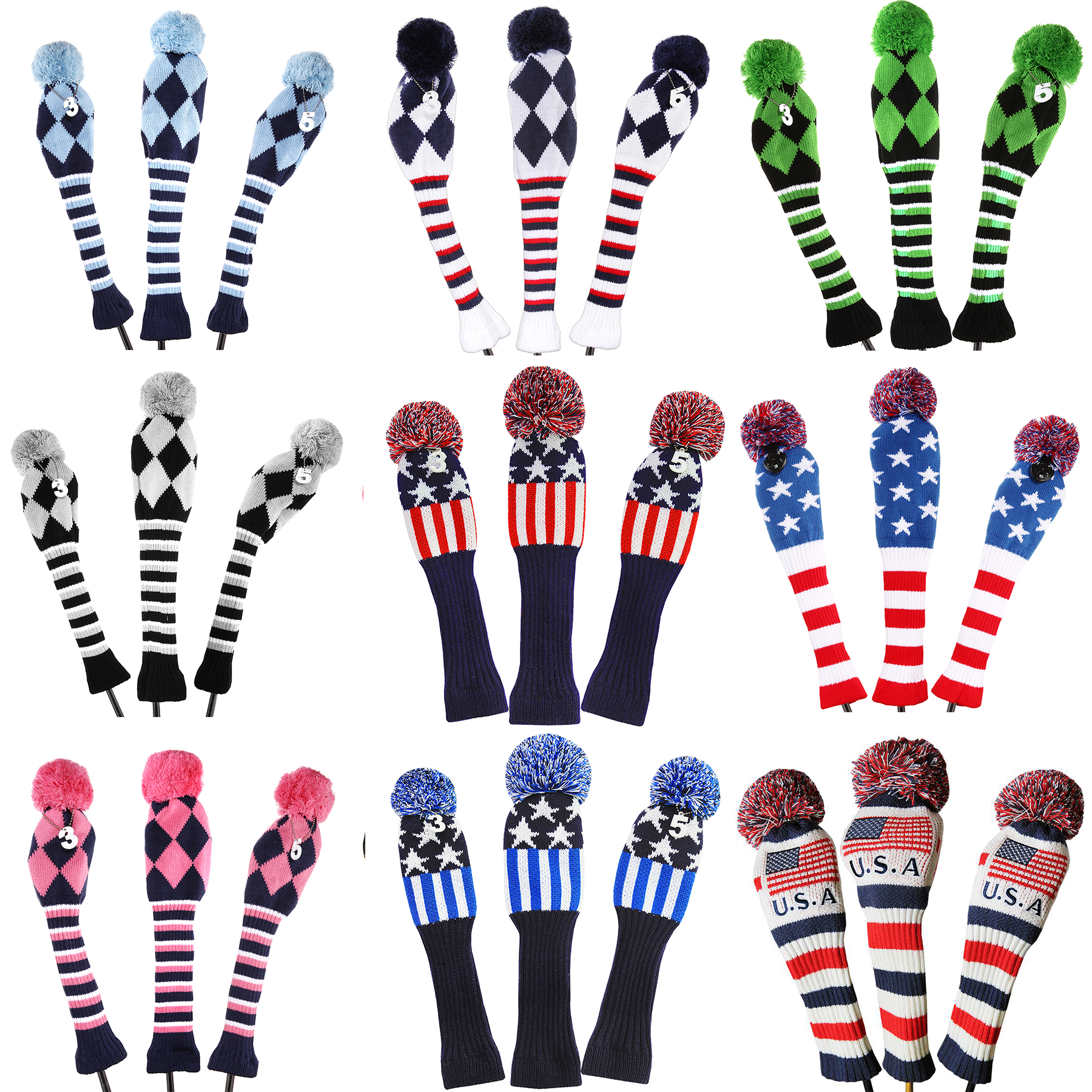 Golf 3pcs/set Knitted Pom Pom Sock Covers 1-3-5 Golf Wood Headcover For Golf Dirver/Fairway Golf Club Headcovers