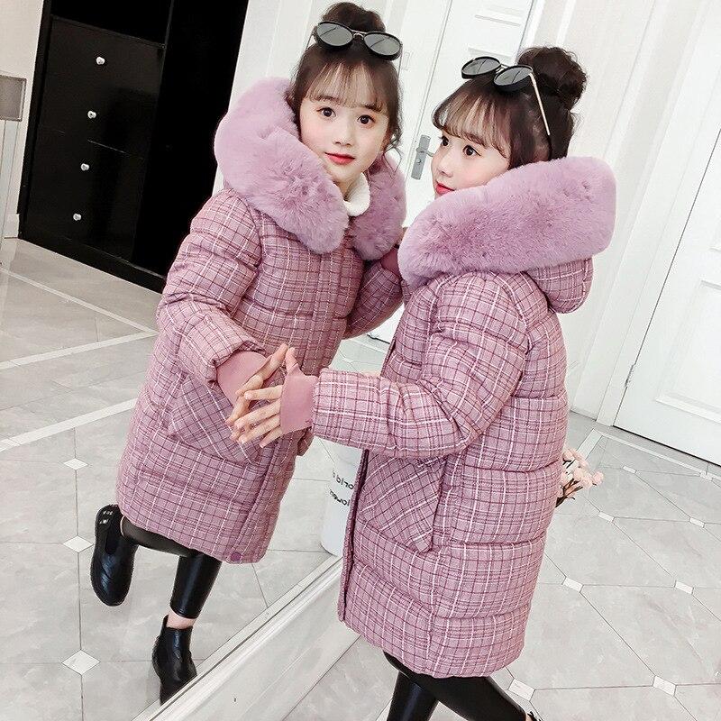 Filles bas coton manteau Plaid fille Parka enfants à manches longues enfants doudoune hiver épais chaud vêtements pour filles 6 8 10 12 14 ans