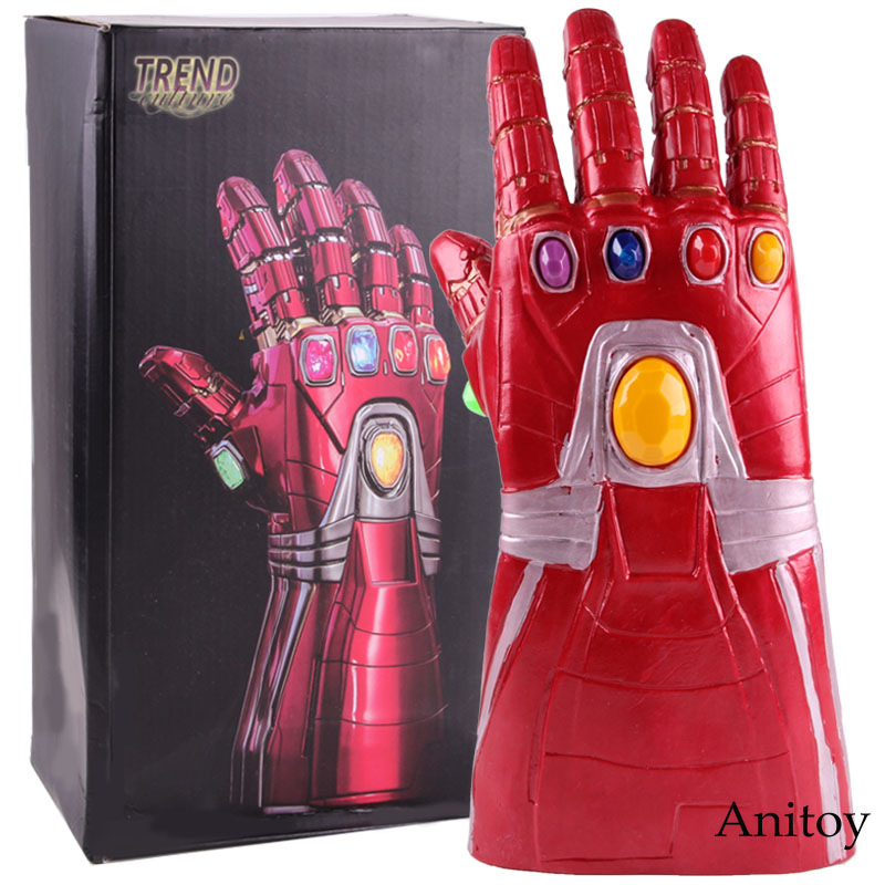 Marvel Avengers 4 Endgame Iron Man Infinity Gauntlet Glove with LED Light Soft Cosplay PVC Action Figure Collectible Model Toy