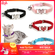 Colliers pour chat chien collier solide velours coeur cloches collier pour animaux de compagnie Chihuahua chaton chiens laisses chat fournitures chien accessoires PQ007(China)