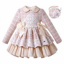 Pettigirl סיטונאי סתיו טוויד נסיכת בנות שמלות עם סרט יום הולדת ילדה מסיבת שמלת ילדים בגדי G DMGD206 182