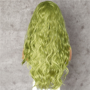 Image 4 - Lvcheryl Hand Tied New Green Color Hair Water Wave Hair wigs Heat Resistant Hair Wigs Synthetic Lace Front Wigs