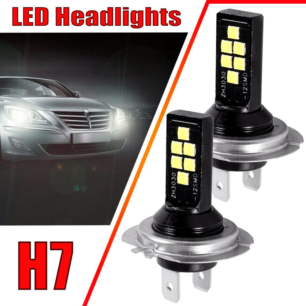 2PCS H7 6000K 12W 1200LM LED Car Anti-fog Light Bulb Driving Day Running Lamp 12SMD 3030 LED Car Headlight Bulbs Headlamp image
