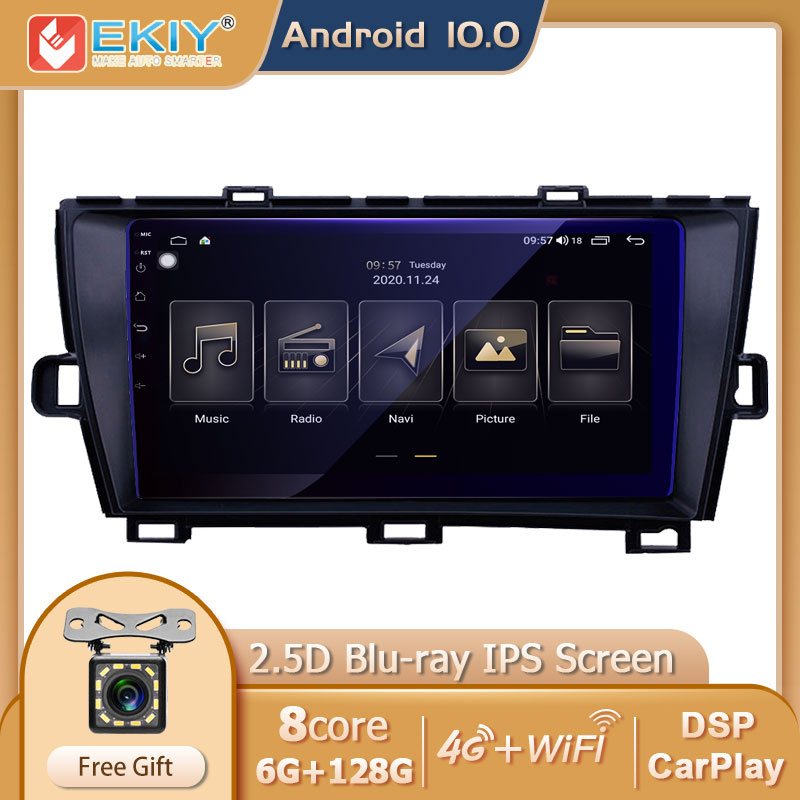 Ekiy blu-ray ips dsp 6g + 128g android 10 para toyota prius 2009-2015 rádio do carro reprodutor de vídeo multimídia gps navi estéreo carplay bt