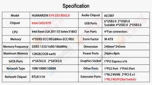 Image 5 - Huananzhi X79 ZD3 rev2.0 placa mãe para intel c602 x79 lga 2011 ecc reg ddr3 1866mhz 128gb m.2 nvme ngff M ATX servidor mainboard