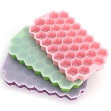 Инструменты для создания сотового мороженого, лоток для льда с крышкой, 37 шестигранных кубиков льда, инструменты для изготовления напитков ...