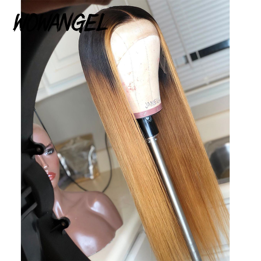 Deep Part Lace Wigs 13*6 Ombre Honey Blonde Lace Front Wig Straight 1b/27 Colored Brazilian Remy 360 Lace Frontal Human Hair Wig