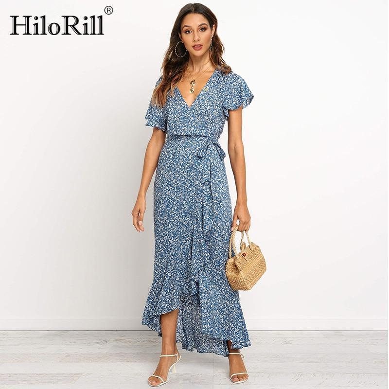 HiloRill Summer Long Maxi Dress Women Casual Boho Floral Print Beach Dress Sexy V-Neck Ruffle Bodycon Wrap High Slit Party Dress