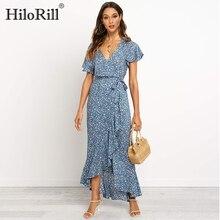 Summer Long Maxi Dress Women Casual Boho Floral Print Chiffo