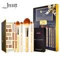 Jessup, juego de 6 uds de brochas de maquillaje profesionales de bambú, limpiador de brochas resaltadoras de polvo, esponja y paleta de sombra de ojos de 12 Colores