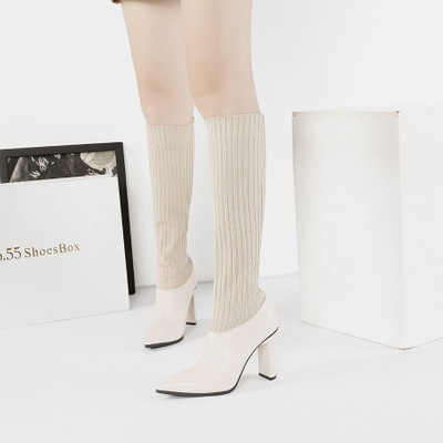 Seksi sivri yüksek yüksek streç bayan botları kalın dikiş ince çorap botları vahşi ince yüksek topuklu çizmeler