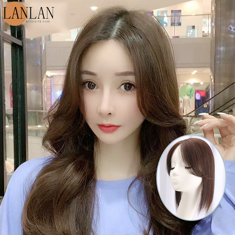 LANLAN3D French eight-character bangs real hair piece female head middle part natural invisible seamless reissue block