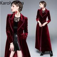 Женское пальто, зимнее, дизайнерское, винтажное, с отложным воротником, черное, вельветовое, длинное, толстое, теплое, длинное, Тренч, верхняя...