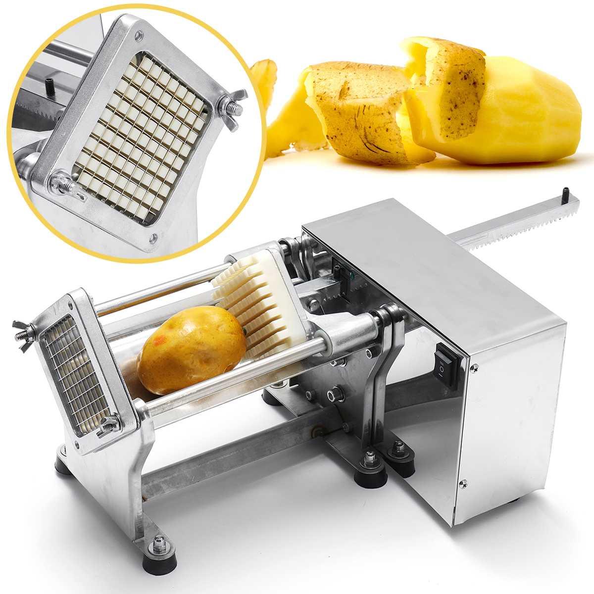 Новая коммерческая электрическая фритюрница 220 В электрическая картофелерезка французская нарезка картофеля фри машина из нержавеющей стали