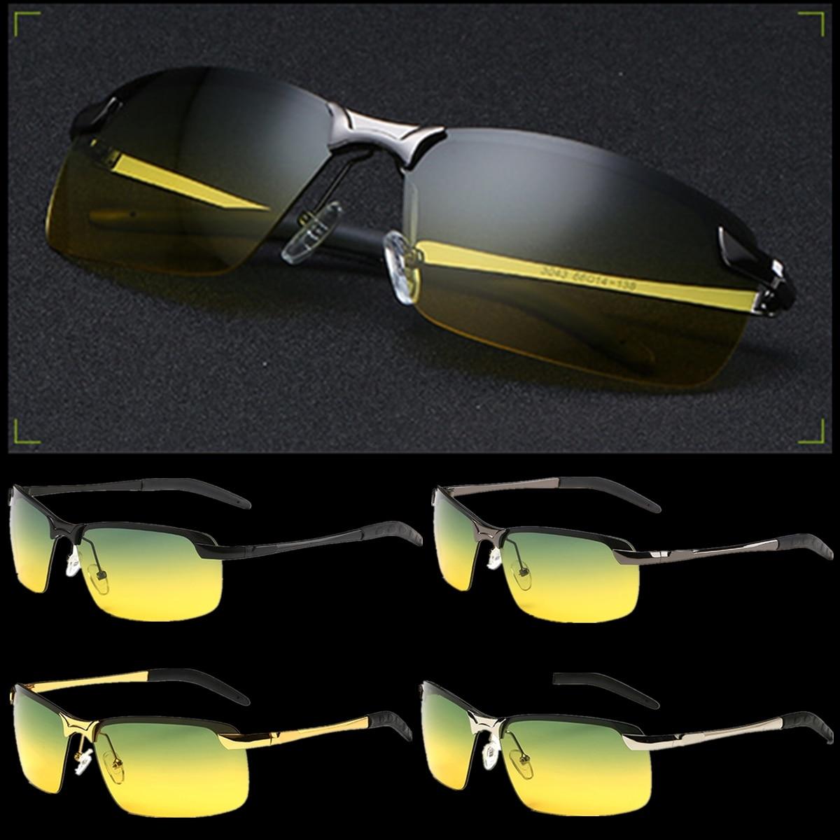 남자 야간 운전 안경 눈부심 방지 노란색 선글라스 안경 금속 야간 고글 보호 자동차 운전을위한 편광 안경