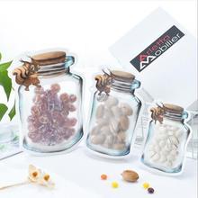 Self-Sealing Bag 5 Pieces Reusable Jar Bottle Sealed Fresh Food Storage Snack Zipper Kitchen