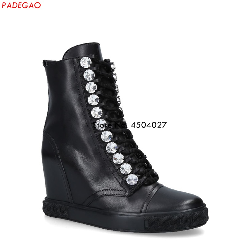 New Fashion Black Crystal Lace-up Hidden Heel Boots Shoes Women Female Round Toe Boot Women Shoes Ankle Boot Size 35-41