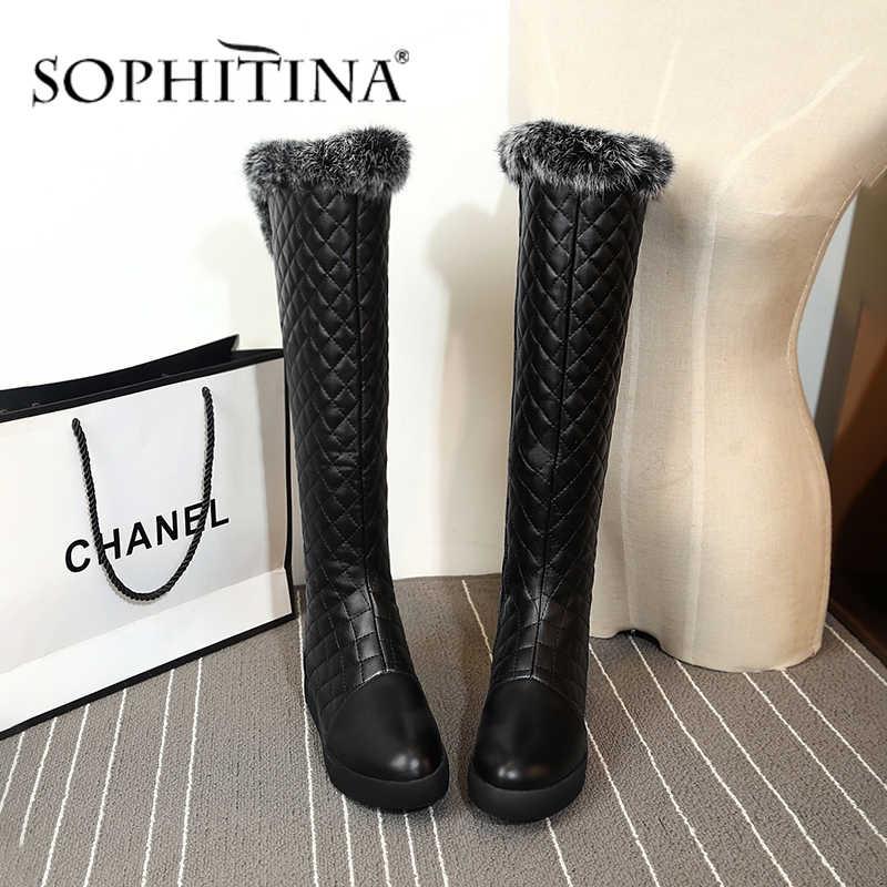 SOPHITINA kış yeni botlar rahat yuvarlak ayak moda fermuar zarif el yapımı kadın ayakkabı büyük boy 33-43 katı çizmeler PO376