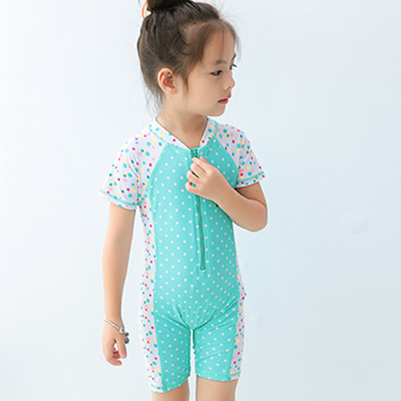 Green Dotted Owl Zipper Hooded Diving Suit One-piece KID'S Swimwear Cute GIRL'S Small Children Surfing Suit