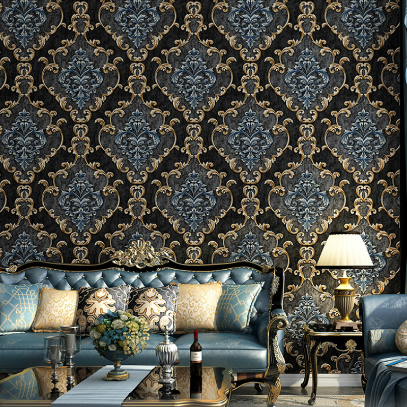 Non-woven Luxury 3D Stereo Wallpaper Vintage Embossed Black Gray Beige Green Wall Paper Living Room Bedroom Wall