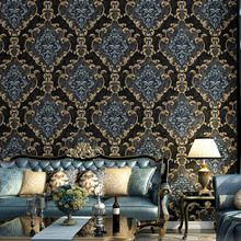 Non woven Luxury 3D Stereo Wallpaper Vintage Embossed Black Gray Beige Green Wall Paper Living Room Bedroom Wall