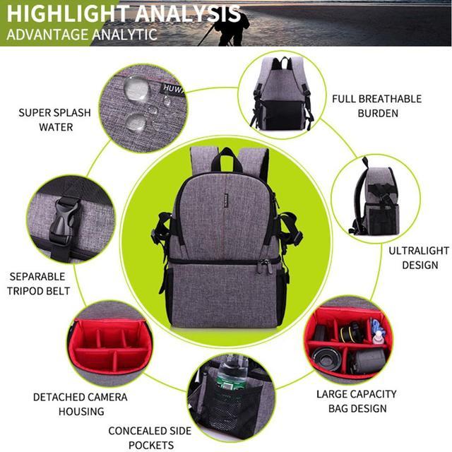 Multi-purpose DSLR Camera Bag Waterproof Photo Camera Bag Shoulder Bag Small DLSR Camera Backpack For Nikon Canon Pentax Sony 10