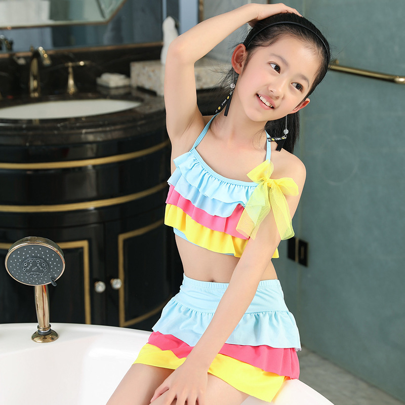 Children Bathing Suit Korean-style New Style 6-9-Year-Old Rainbow GIRL'S Swimsuit Qmilch Flounced Fen Ti Zhuang
