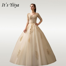 It's YiiYa Wedding Dresses V-neck Half Sleeve Wedding Dress Plus Size Champagne Lace Beading Long Vestido De Novia 2020 D36