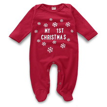 2019 New Christmas Baby Boy Girls Cotton Romper Long Sleeves Newborn Letter First Clothes Red