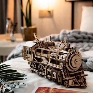 Image 2 - Robotime DIY saat dişli sürücü lokomotif 3D AHŞAP Model yapı kitleri oyuncaklar hobiler hediye çocuk yetişkin için LK701