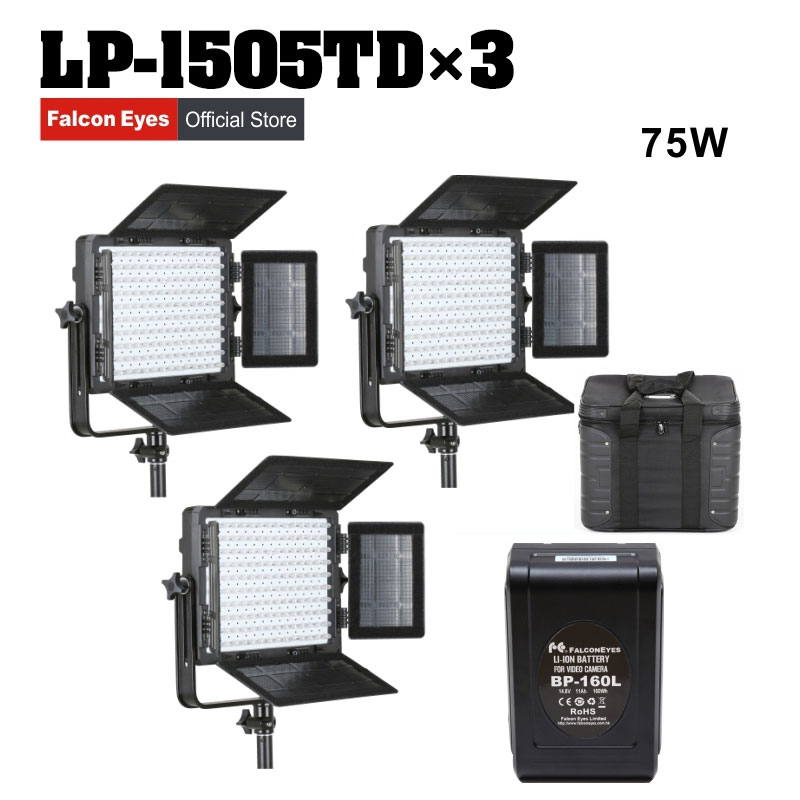 Falcon Eyes 3XLot 75W LED Panel Photography Video Light Panel Dimmable LED Studio Lamp LP 1505TD