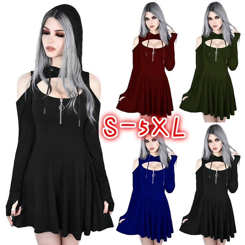 FEECOLOR  10PCS Womens Sexy Cold Shoulder Long Sleeve Hoodie Mini Dress Hooded Custom Cosplay Halloween Witch Short