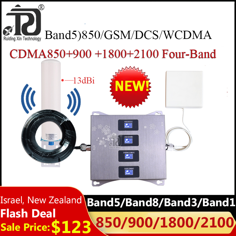 New!! 1 Set 850 900 1800 2100 Four-Band 2G 3G 4G Cellular Amplifier Signal Booster Mobile GSM Repeater CDMA GSM WCDMA DCS LTE