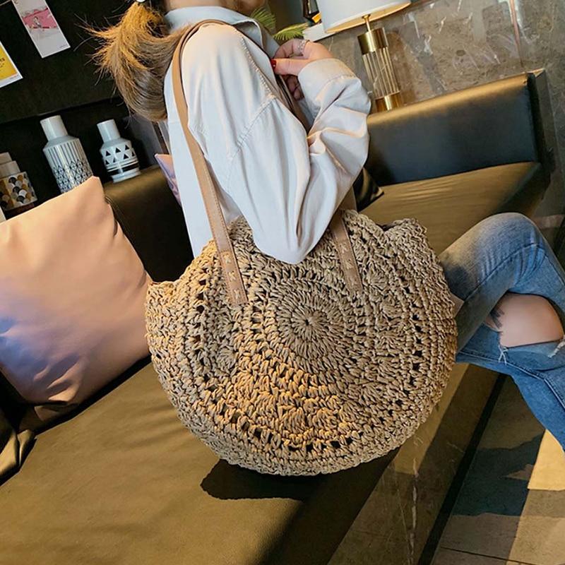 Casual Straw Shoulder Bags Women Solid Hollow Circle Totes Handbags Big Capacity Summer Lady Bohemian Beach Treval Totes Handmae