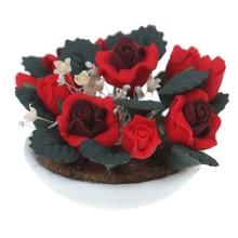 Кукольные домики красная роза Гипсофила керамический горшок 1:12 кукольный домик миниатюрная глиняная модель растений детские игрушки аксессуары