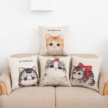 Hot Selling Cute Cartoon Cat Orange Cat Pattern Flax Pillow Sofa Back Cushion Waist Pillow Case (Excluded Pillow Interior) цена 2017