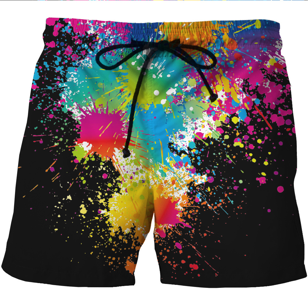 New European And American Men's Fast Dry Shore Shorts 3D Cool Creative Printed Leisure Shorts
