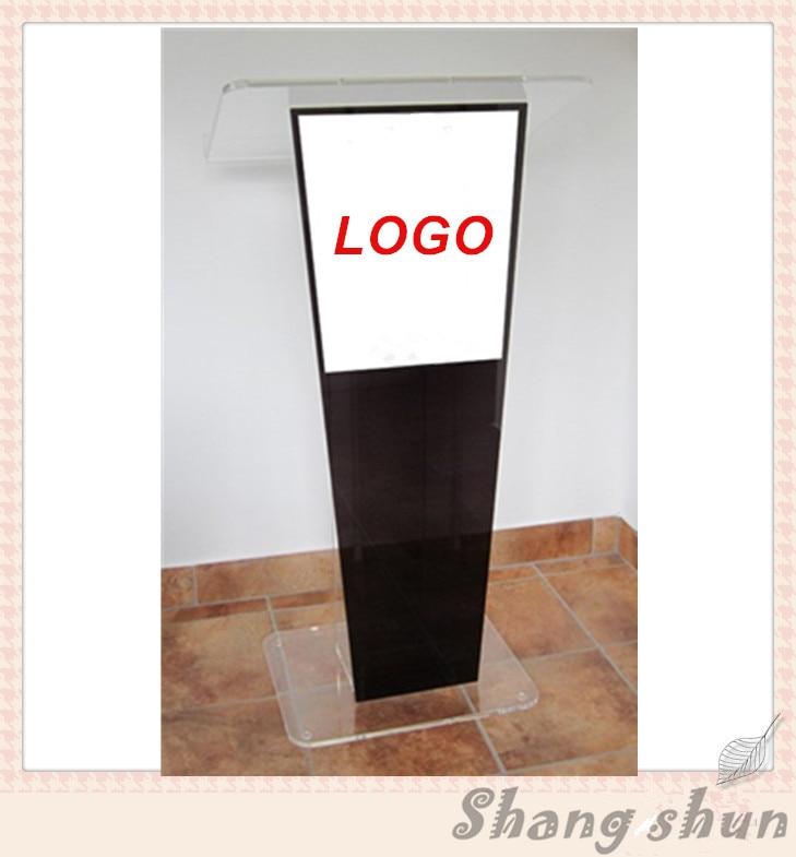 Luxury Display Goods Logo Acrylic Lectern Modern Curved Acrylic Podiums Lectern/ Eco - Friendly Acrylic Church Pulpit