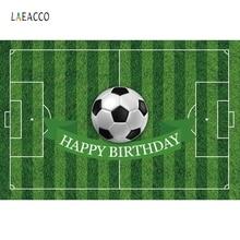 цена Laeacco Sports Football Soccer Field Birthday Party Wall Photographic Backdrops Custom Photography Backgrounds For Photo Studio онлайн в 2017 году