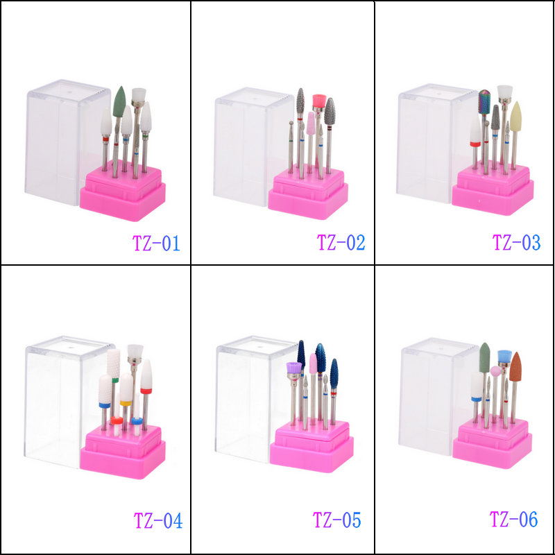 7 Pcs Ceramic Nail Drill Bits Set with Box Milling Cutter Manicure Machine Accessories Electric Nail Files Nail Art Tools image