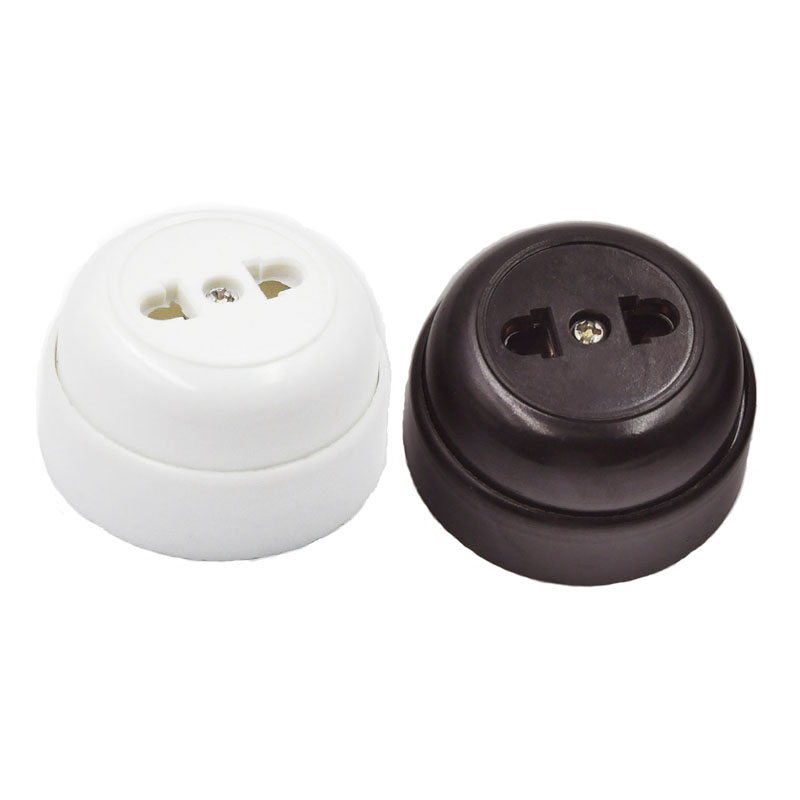 20pcs Retro EU Electrical Wall Socket Round-shaped Outlet Two-holes Socket Brown White 10A 250V