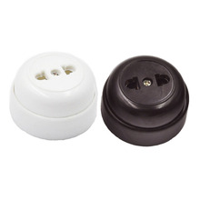 5pcs Retro Electrical Socket Round-shaped Two-hole Single Plug-in Vintage Brown 10A Bakelite